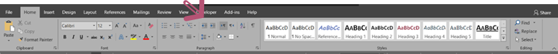 Word ribbon showing Styles